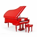 Sophisticated 30 Note Miniature Musical Hi-Gloss Fire Engine Red Grand Piano with Bench