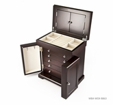Sophisticated 36 Note Modern Dark Espresso Grand Musical Jewelry Box with Silver Hardware