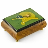 Sports Theme Wood Inlay: Baseball- Collectible 30 Note Musical Jewelry Box