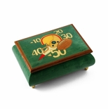 Sports Theme Wood Inlay: Football  - Collectible 22 Note Musical Jewelry Box