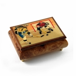 Sports Theme Wood Inlay: Hockey - Collectible 18 Note Musical Jewelry Box