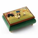 Sports Theme Wood Inlay: Soccer - Collectible 30 Note Musical Jewelry Box