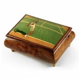 Sports Theme Wood Inlay: Tennis - Collectible 22 Note Musical Jewelry Box