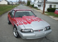1989 Red w/ White Flames Mustang Hatchback LX - Joey Burdette '89