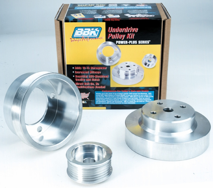 Aluminum Supercharger Pulley: BBK Aluminum 5.0L Mustang 3-Piece Underdrive Pulley Kit