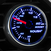 Roush Black Face Boost/Vac Gauge - 20psi Mechanical (79-14 All)