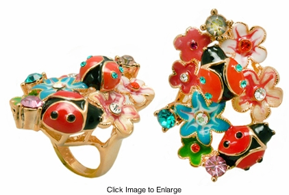 "1.5"" Wide Ladybug Meadow Ring"