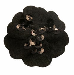 "1.75"" Felt Flower Hair Clips with Sequin Center in Black for $5.00"