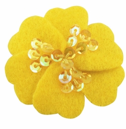 "1.75"" Felt Flower Hair Clips with Sequin Center in Neon Yellow for $5.00"