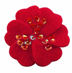 "1.75"" Felt Flower Hair Clips with Sequin Center in Red for $5.00"