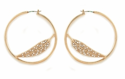 "1.75"" Wide Hoops Earrings with Crystal Feather"