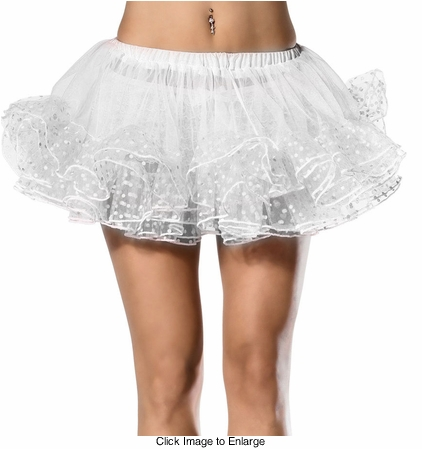 "12"" Long Polka Dot Trim Petticoat in White"