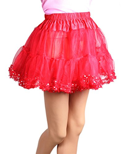 "15"" Long Red Chiffon Petticoat with Sequin Dot Trim"