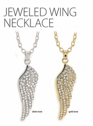 "2.15"" Jeweled Angel Wing Necklace"