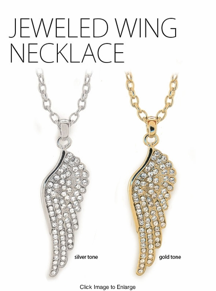 """2.15"""" Jeweled Angel Wing Necklace"""