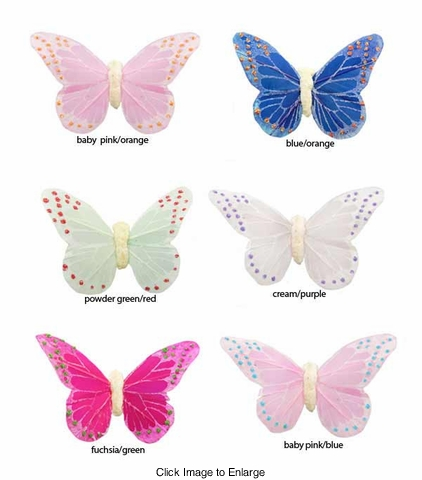 """2.75"""" Feather Butterfly Hair Clip"""