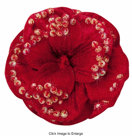 "2.75"" Red Velvet Flower Hair Clip with Iridescent Sequins"