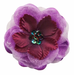 """2.75"""" Wide Chiffon and Satin Flower Hair Clip with Sequin Center"""