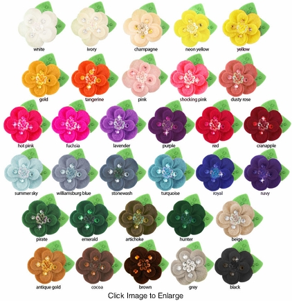 """2"""" Crystal and Felt Flower Hair Clips (available in 35 colors)"""