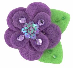 """2"""" Felt and Crystal Flower Hair Clips in Lavender for $5.00"""