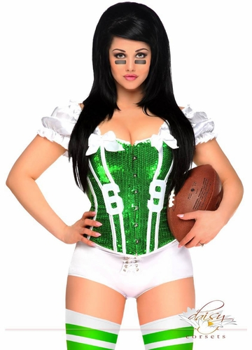 2-Piece Green Football Fantasy Corset Costume
