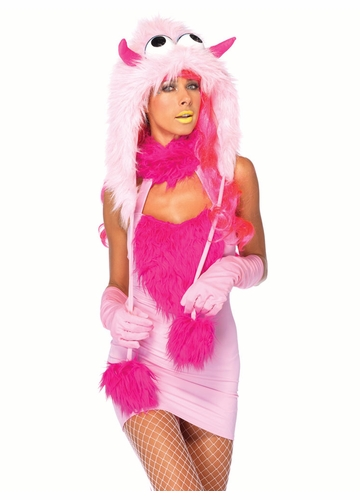 2-Piece Pink Muff Monster Furry Hood Costume