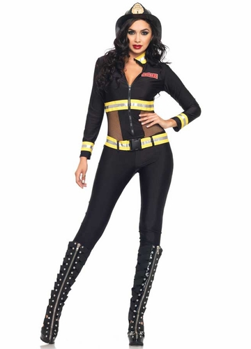 2-Piece Red Blaze Firefighter Halloween Costume
