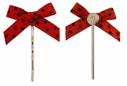 "2"" Red with Black Dots Bow Barette Hair Clips"