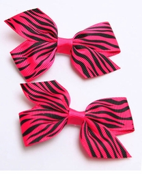 "2"" Ribbon Hair Clip with Animal Print (available in 7 colors)"