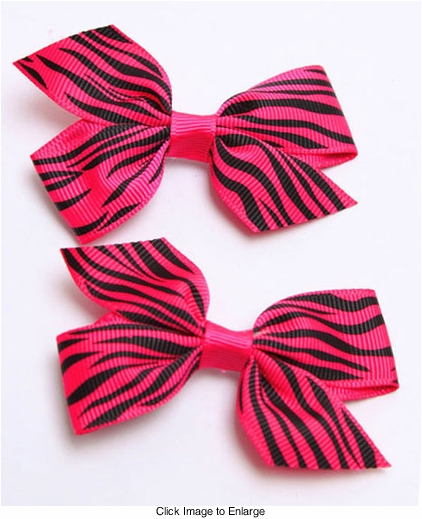 """2"""" Ribbon Hair Clip with Animal Print (available in 7 colors)"""