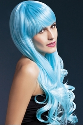 2-Tone Blue Very Long Emily Wig with Soft Curl