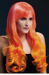 2-Tone Pink/Orange Very Long Emily Wig with Soft Curls
