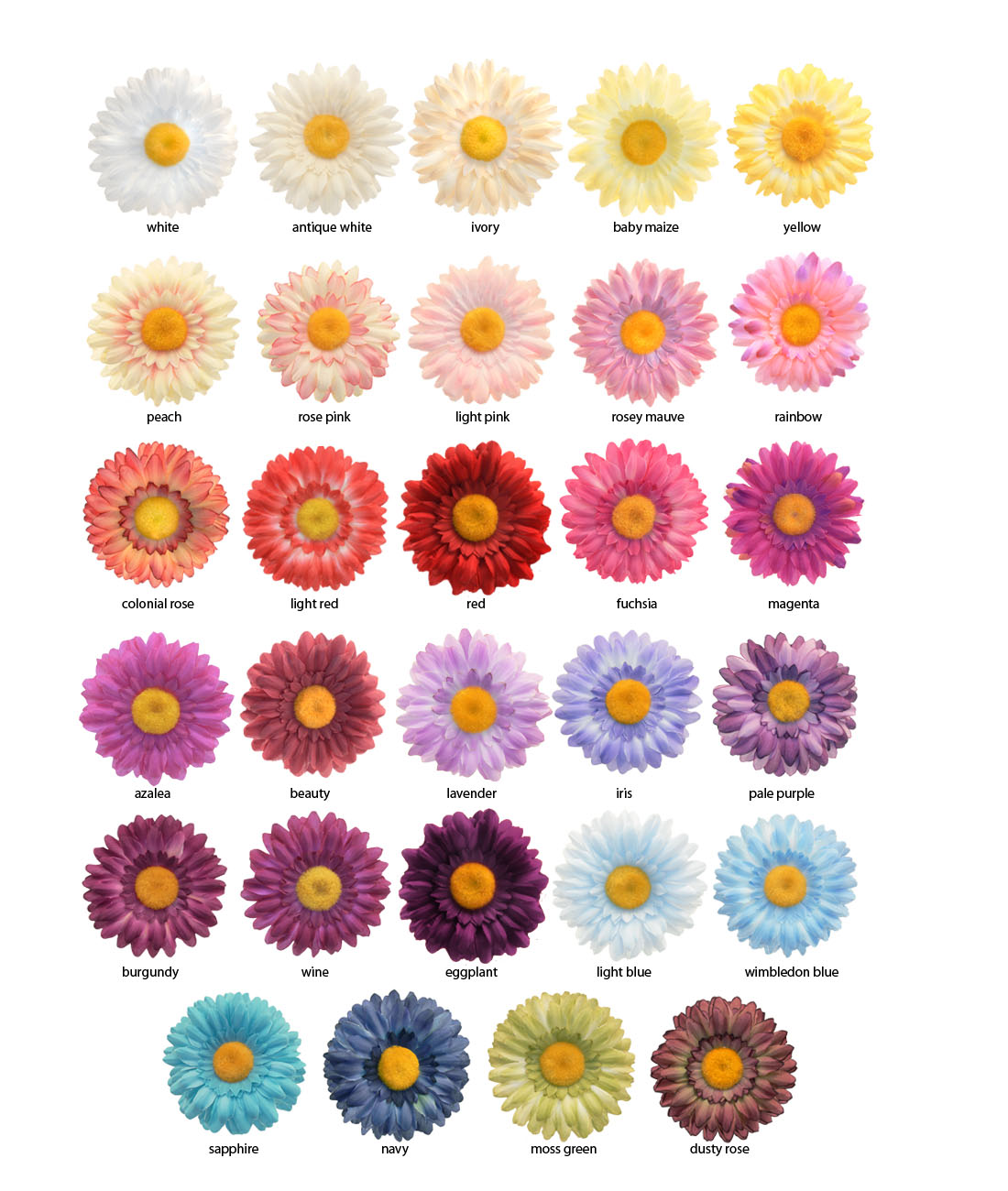 "Color Daisies: 3.25"" Gerber Daisy Flower Hair Clip (available In 29 Colors"