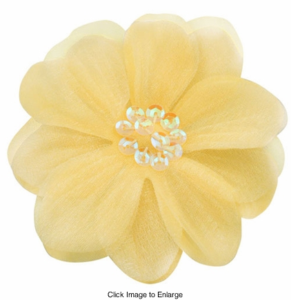 "3.5"" Baby Maize Flower Hair Clip with Chiffon and Sequin"