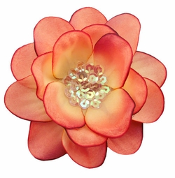 """3.5"""" Colonial Rose Flower Hair Clip with Iridescent Sequin Center"""
