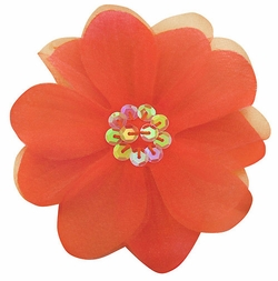 """3.5"""" Flower Hair Clip with Chiffon Overlay and Sequin Center"""