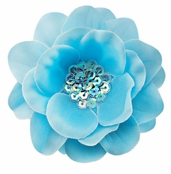 "3.5"" Flower Hair Clip with Iridescent Sequin Center"