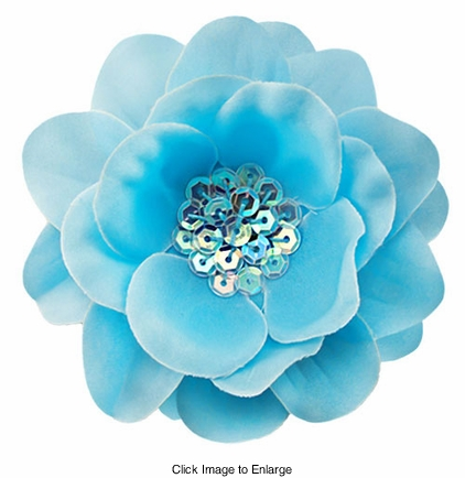 """3.5"""" Flower Hair Clip with Iridescent Sequin Center"""