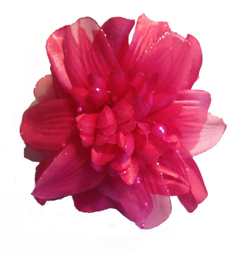 "3.5"" Flower Jaw Hair Clip with Bead Accents"