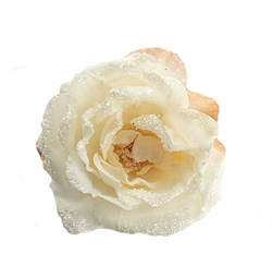 "3.5"" Frosted Cream Rose Flower Hair Clip"
