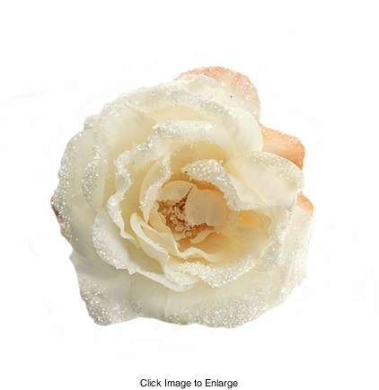 """3.5"""" Frosted Cream Rose Flower Hair Clip"""
