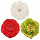 """3.5"""" Luxe Chiffon and Silk Flower Hair Clip with Crystal Center"""
