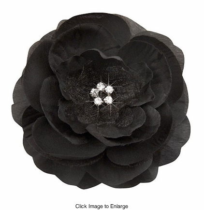 """3.5"""" Luxe Silk and Chiffon Black Flower Hair Clip for Crystal Center"""