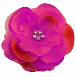 "3.5"" Luxe Silk and Chiffon Flower Hair Clip in Azalea"