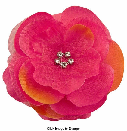 """3.5"""" Luxe Silk and Chiffon Passion Fruit Flower Hair Clip and Crystals"""