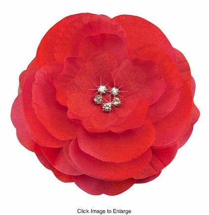 "3.5"" Luxe Silk and Chiffon Red Flower Hair Clip for Crystal Center"