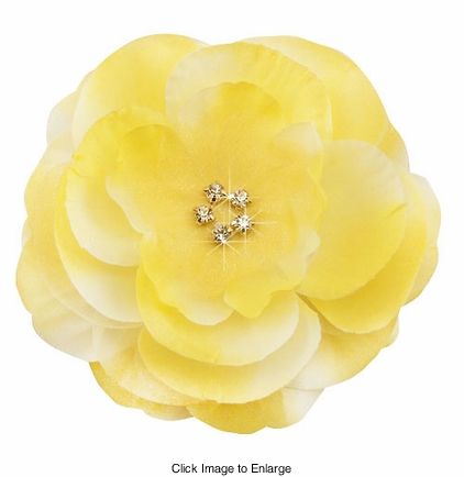 "3.5"" Luxe Silk and Chiffon Yellow Flower Hair Clip for Crystal Center"