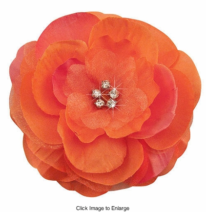 "3.5"" Luxe Silk & Chiffon Flower Tangerine Hair Clip for Crystal Center"
