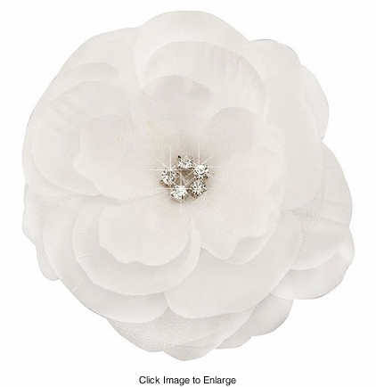 "3.5"" Luxe Silk Chiffon White Flower Hair Clip with Crystal Center"