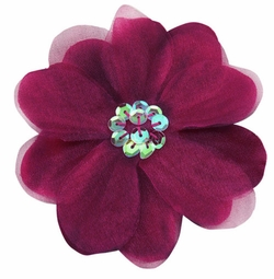 """3.5"""" Purple Flower Hair Clip with Chiffon Overlay and Sequin Center"""